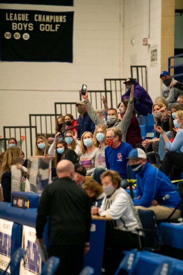 Fans show their frustration with a referee's penalty call at Highlands Ranch High School on March 9th, 2021.