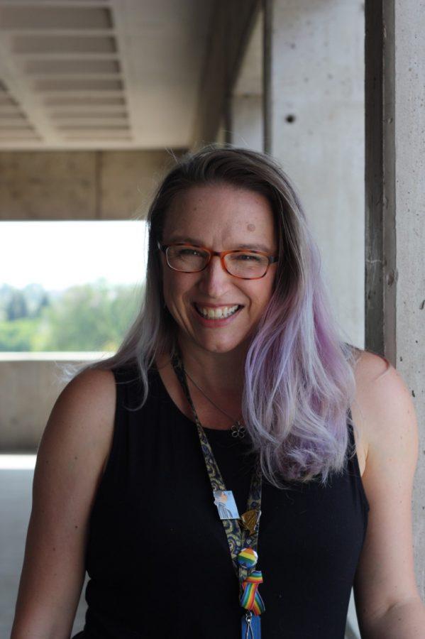Monica Fuglei posing on one of ACCs balconies, September 23, 2021